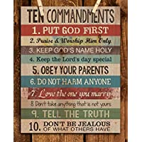 """10 Commandments""- Wall Art Print- 8 x 10""- Distressed Wood Sign Replica Print-Ready to Frame. Home Decor, Office Decor, Biblical-Church Wall Art. Great Christian Gift."