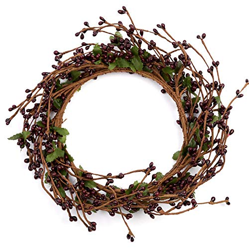 Factory Direct Craft Burgundy Pip Berry and Twig Candle Rings | 2 Candle Rings | for Indoor Decor ()