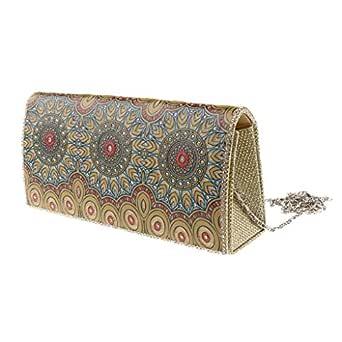 MagiDeal Women's Classic Bag Evening Clutch Bag Dinner Wedding Purse Handbag - Gold, as described