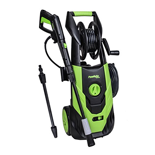 - PowRyte Elite 2100 PSI 1.8 GPM Electric Pressure Washer, Power Washer Adjustable Spray Nozzle, Extra Turbo Nozzle, Onboard Detergent Tank Hose Reel Hose Storing