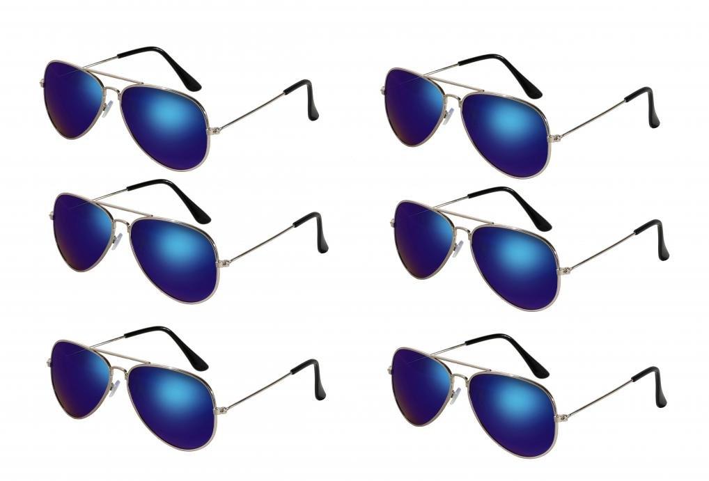 WODISON Classic Kids Aviator Sunglasses Bulk Reflective Metal Frame Children Eyeglass 6 Pack