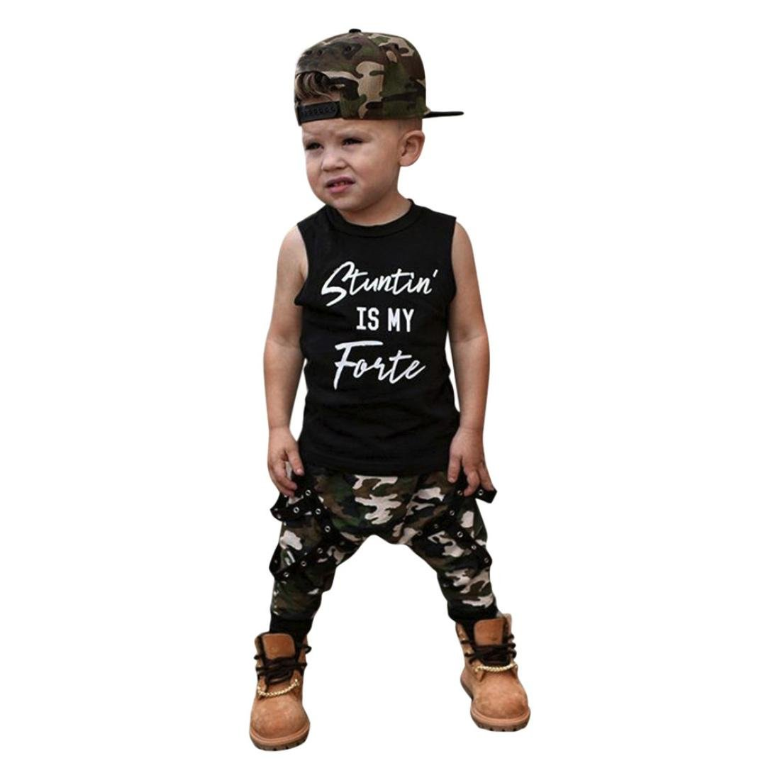 Goodlock Toddler Kids Fashion Clothes Set Baby Boy Letter Vest Tops+Camouflage Pants Outfits Clothes Set