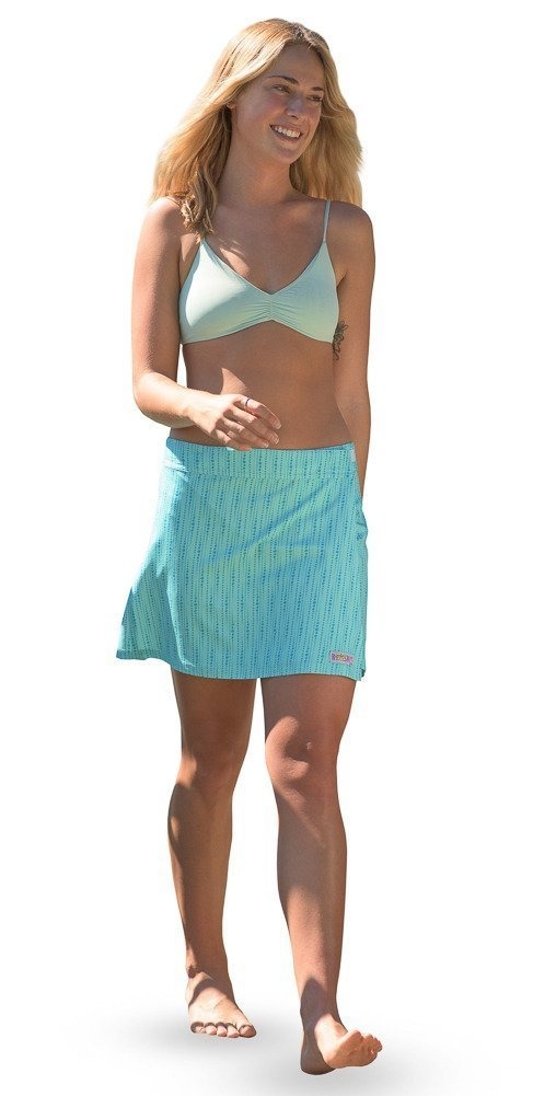 RipSkirt Hawaii - Length 1 - Quick Wrap Athletic Cover-up that Multitasks as the Perfect Travel/Summer Skirt , Seaglass , X-Small / 00-2