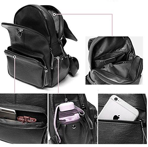 sac à sac à main en dos sac Fanshu dos mode cuir école Noir Rouge à Mesdames gnqWRF1