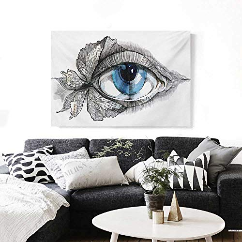 (Eye Canvas Print Wall Art Abstract Human Eye with Butterfly Eyelashes Painting Style Dreamy Female Look Artwork for Wall Decor 20