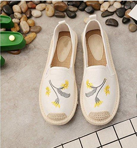 Trentanove Bianco Paglia Femminili Scarpe Biancheria Scarpe Calzature Scarpe XINGMU Tela Pescatori Calzature Di Scarpe Ricamati Tessuta awAnEx6FZ