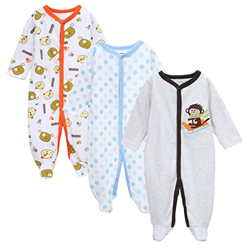 Babe Maps Unisex Baby 3-Pack Snap Front Sleep N Play Footie Pajamas For 9-12 Months by Babe Maps