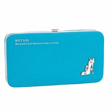 VENMO Las Mujer Tacones Altos Teléfono Paquete Cartera Largo Monedero Bolso de Embrague (Azul)