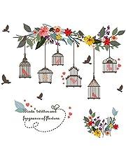 Wall Decorations - Garden art stickers Branch Birdcage Flower Removable Wall Art Decal Vinyl Stickers Kids Home Decor