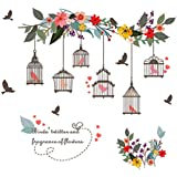 AWAKINK Colorful Flowers Flying Birds on Tree Branch with Bird Cages Wall Stickers Wall Decal Vinyl Removable Art Wall Decals for Girls and Boys Nursery Room Children's Bedroom