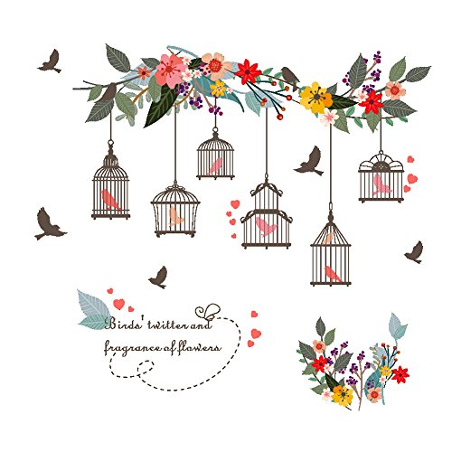 Cage Art Wall (AWAKINK Colorful Flowers Flying Birds on Tree Branch with Bird Cages Wall Stickers Wall Decal Vinyl Removable Art Wall Decals for Girls and Boys Nursery Room Children's Bedroom)