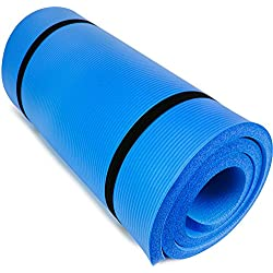 "Crown Sporting Goods Yoga Cloud Ultra-Thick 1"" Yoga and Exercise Mat with Shoulder Sling (Blue)"