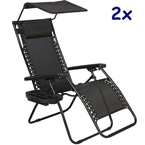 2x Zero Gravity Chair Lounge Patio Chairs Outdoor with Canopy Cup Holder HO43/Black TKT-11 (Patio Town Cape Wrought Iron Furniture)