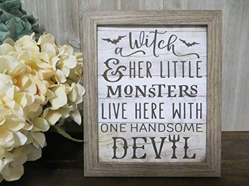 MaxwellYule Halloween Print A Witch Her Little Monsters Live Here with One Handsome Devil Framable Art Print Halloween Decor