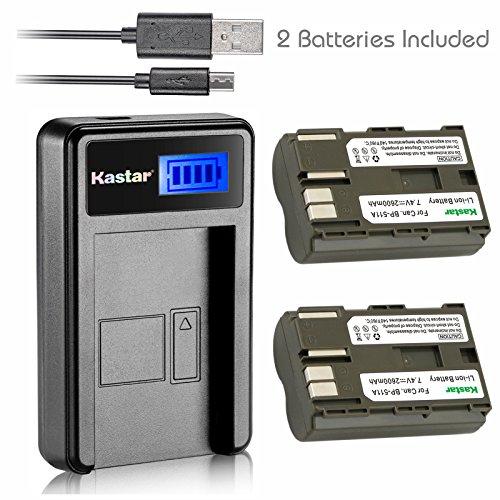 Kastar-Battery-X2-LCD-Slim-USB-Charger-for-Canon-BP-511-BP-511A-and-EOS-5D-10D-20D-30D-40D-50D-Digital-Rebel-1D-D60-300D-D30-Kiss-Powershot-G5-Pro-1-G2-G3-G6-G1-Pro90-Optura-20-Grip-BG-E2N