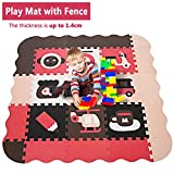 Kids Play Mat with Fence and Large Interlocking Foam Floor Tiles, 1.4cm Thick Crawling Mat for Playroom & Nursery for Infants Toddlers Kids (US STOCK) For Sale