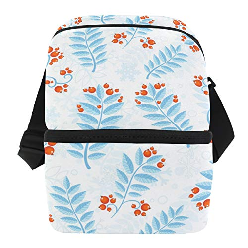 (Dual Compartment Thermal Bento Lunch Bag Winter Berry Blue Leaves Insulated Cooler Work School Picnic Lunch Box with Carry Shoulder Strap)