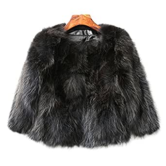 MINGCHUAN Raccoon Fur Coat, Women's Genuine Fluffy Raccoon Fur Warm Jacket Waistcoat Outwear (Short Section)