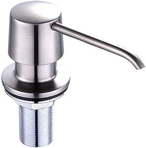 FORIOUS Soap Dispenser for Kitchen Sink, Under Counter, Brass Commercial Built in Undermount, Copper Pump Head Liquid Lotion Kitchen Countertop Soap Dispenser