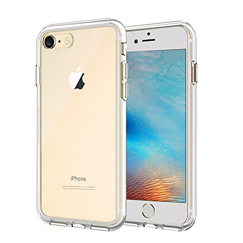Singularity Products Crystal Clear Cover Case Transparent Hard Plastic Back Plate and Soft TPU Gel Bumper Glass Screen Protector compatible with iPhone 8/7 -