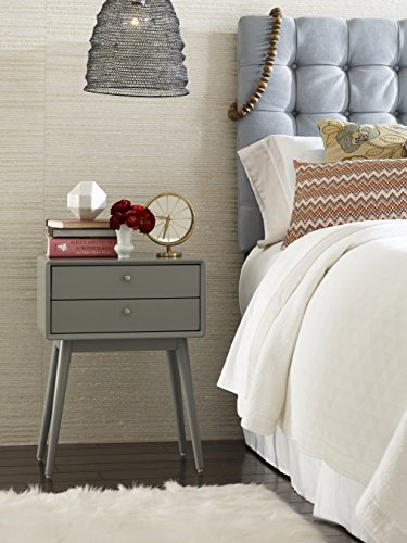 - Elle Decor Rory Two Drawer Side Table, Gray