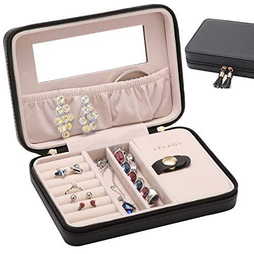 JL LELADY JEWELRY Small Jewelry Box Organizer Travel Jewelry Case Portable Faux Leather Jewelry Boxes Storage Case with Mirror for Women Girls (Black)