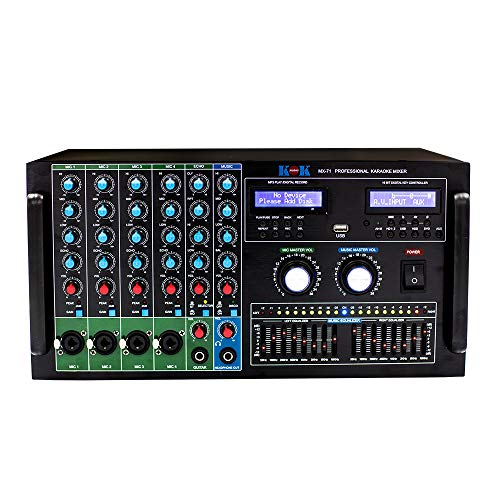 KOK Audio MX-71 PROFESSIONAL AUDIO STEREO SOUND KARAOKE MIXING MIXER, HDMI In/Output, Bluetooth, USB, SD Card, 4 Mic input.