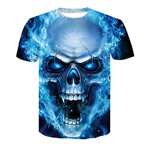 Mens Colorful Blue Flame Skull T-Shirts Summer Lightweight Punk Streetwear Tees Tops