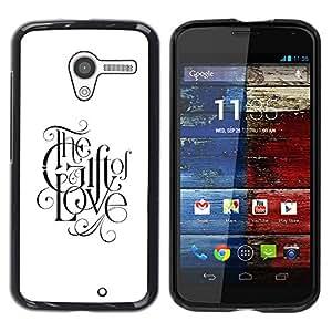 La fe que Dios la fe del amor Blanco Negro Texto- Metal de aluminio y de plástico duro Caja del teléfono - Negro - Motorola Moto X 1 1st GEN I