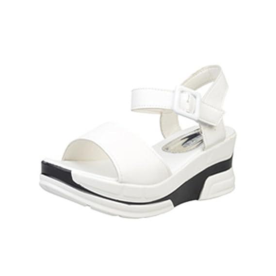 Sandalias Mujer Verano 2018 Plataforma Tacón De Cuñas De Moda SóLida Zapato Correa Hebilla Zapatos Romanos Sandalias Casual Chanclas YiYLinneo: Amazon.es: ...