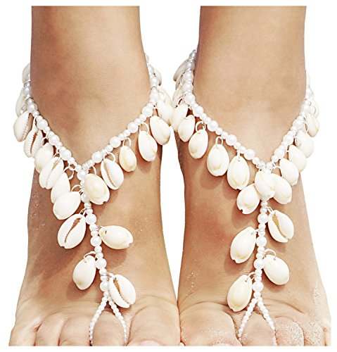 2 Pcs Bohemian Style Barefoot Sandals Pearl Ankle Chain with Tassel Seashell,White_Style (Shell Chain)