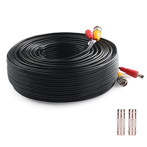 Lknewtrend 200 Feet Pre-Made All-in-One Siamese BNC Video and Power Cable Wire Cord with Two Female Connectors for CCTV Security Camera & DVR (Black) Bnc Siamese Cable