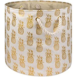 DII Collapsible Polyester Storage Basket or Bin with Durable Cotton Handles, Home Organizer Solution for Office, Bedroom, Closet, Toys, Laundry (Medium Round – 16x15), Gold Pineapple