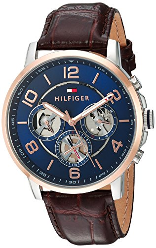 Tommy Hilfiger Men's Quartz Stainless Steel and Leather Casual Watch, Color Brown (Model: 1791290)