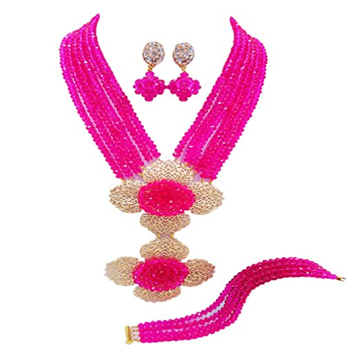 aczuv 6 Rows African Beads Jewelry Set Crystal Nigerian Wedding Necklace Set Bridal Jewelry Sets (Hot Pink)