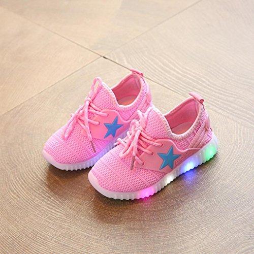 TPulling Mode Junge Und Mädchen Herbst Und Winter Kinder-Verdickung Lässige Turnschuhe Star Luminous Kind Casual Bunte Leichte Schuhe Rosa