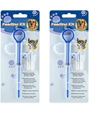 PAGOW 2 Pcs Pet Medicine Feeder, Silicone Syringe Cat Dog Puppy Pill Dispenser Suit with Soft Tips, Pet Cat Dog Puppy Pill Tablet Versus Control Rods