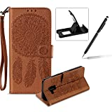 Strap Pu Leather Case for Samsung Galaxy A8 2018,Wallet Flip Cover for Samsung Galaxy A8 2018,Herzzer Classic Elegant Book Style [Brown Wind Chime] Embossed Slim Fit Stand Leather Folio Pouch Protective Mobile Cellphone Case for Samsung Galaxy A8 2018
