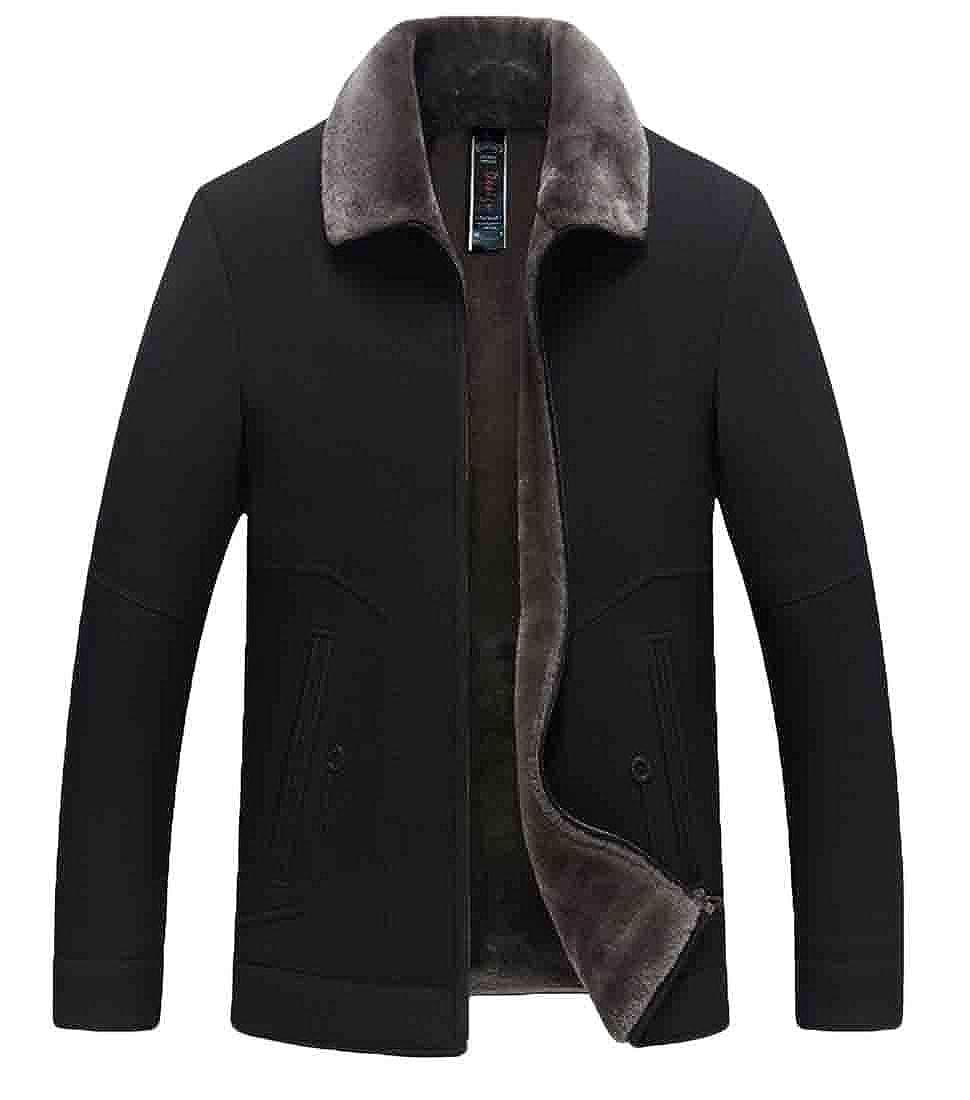 Hmarkt Mens Thicken Linen Fleece Outwear Pockets Zip-Up Down Jacket Coat