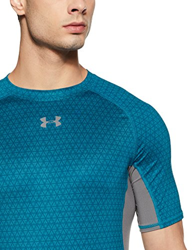 Under Armour Men's HeatGear Armour Printed Short Sleeve Compression Shirt,Bayou Blue (953)/Graphite, Small by Under Armour (Image #3)