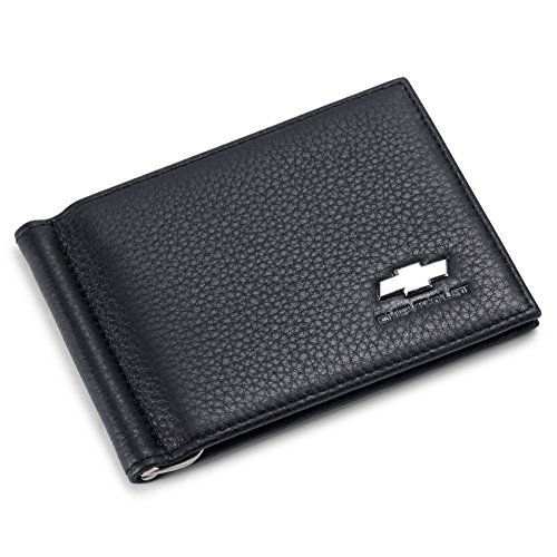 Chevrolet Bifold Money Clip Wallet with 6 Credit Card Slots - Genuine Leather