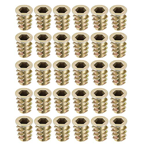 uxcell Threaded Insert Nuts Zinc Alloy Hex Socket M6 Internal Threads 14mm Length 30pcs