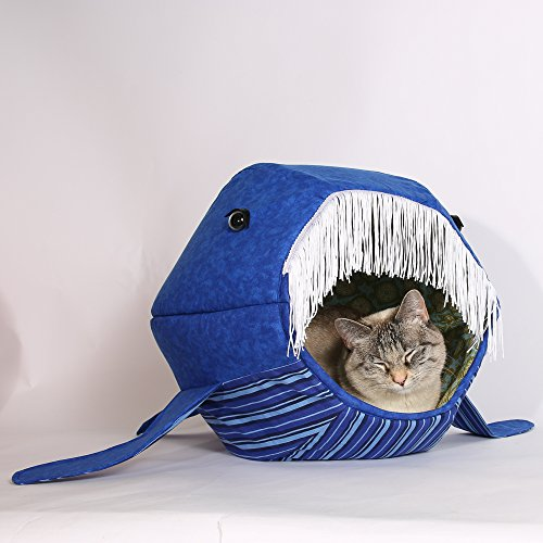 Blue Whale Cat Ball Pet Bed, a novelty pet bed that looks like a whale, designer cat bed made in (Designer Cat Beds)