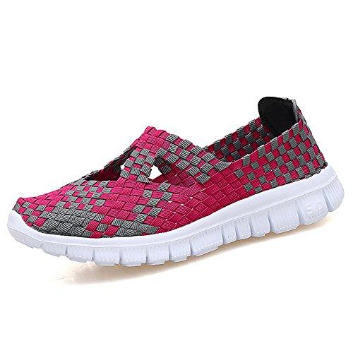 L LOUBIT Women Woven Shoes Slip On Handmade Sneakers Comfort Lightweight Walking Shoes Red