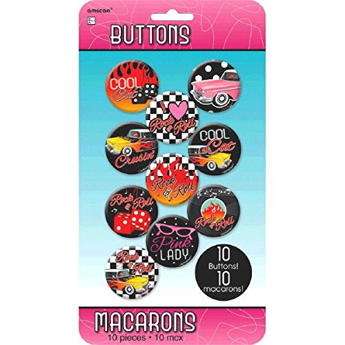 Rock-n-Roll 50's Theme Party Classic Buttons Accessory, Tin Metal, 1