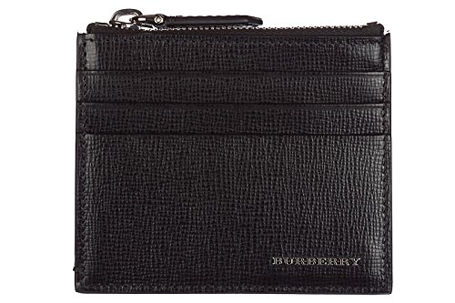 Burberry men's genuine leather credit card case holder wallet london black