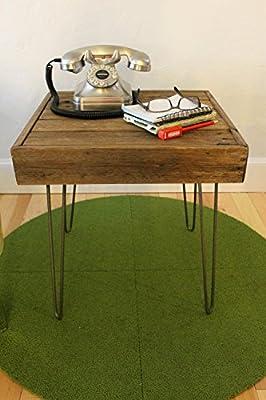 "Reclaimed Wood Side/Sofa Table on Hairpin Legs - ""The Eva"""