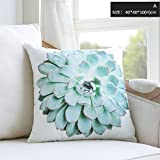 Inteeon home series Cushion Pillow Succulent Print Removable 4040 Washable Cushion Square Waist