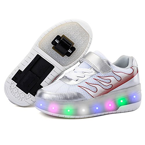 Motaierly Light Up Roller Skate Shoes USB Charging LED Doubl