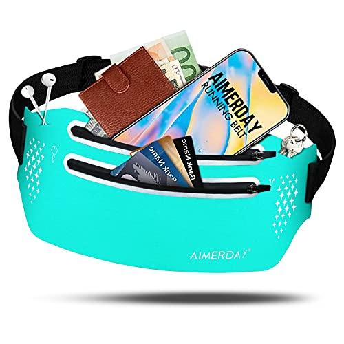 AIMERDAY Slim Running Belt Fanny Pack for Women&Men Large Capacity Belt Bag Ultra-Light Waist Pack Bounce Free Adjustable Running Phones Holder Reflective Waterproof Waist Bag for All Phones